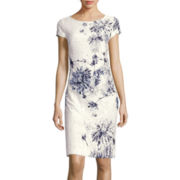 Liz Claiborne® Cap-Sleeve Floral Print Lace Sheath Dress