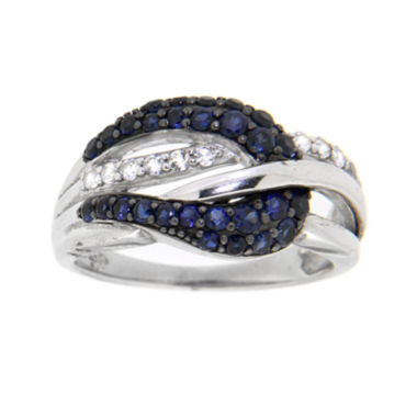 jcpenney.com | Sterling Silver Lab-Created Blue & White Sapphire Bypass Ring