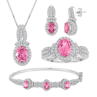 jcpenney.com | Lab-Created Pink Sapphire and Cubic Zirconia 4-pc. Boxed Jewelry Set