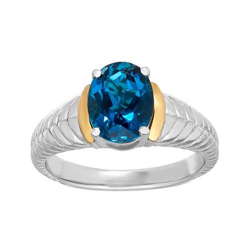 Genuine London Blue Topaz Sterling Silver Ring