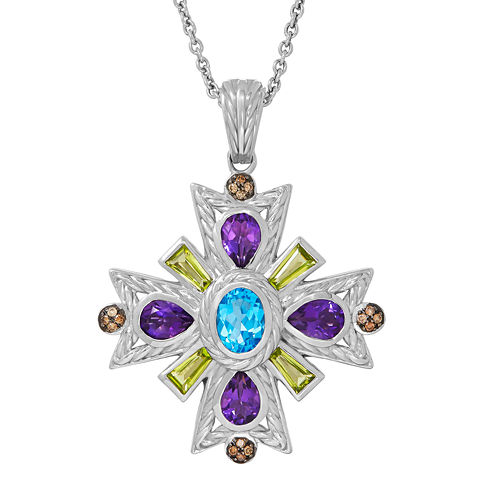 1/8 C.T. TW. Diamond and Gemstone Sterling Silver Pendant Necklace