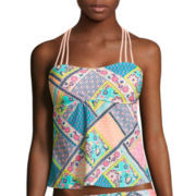 Arizona Whimsical Patchwork Strappy Bandeaukini Swim Top - Juniors