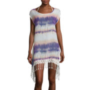 Arizona Sleeveless Crochet Fringe Chiffon Swim Coverup - Juniors