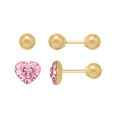 jcpenney.com | Infinite Gold™ Kids 14K Yellow Gold Pink Crystal-Accent Heart and Ball Stud 2-pr. Earring Set