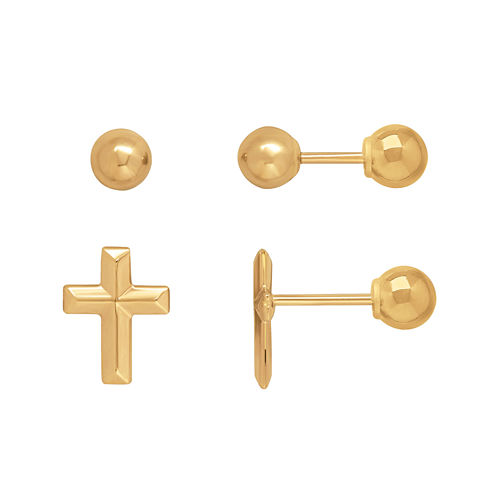 Infinite Gold™ Kids 14K Yellow Gold Cross and Ball Stud 2-pr. Earring Set
