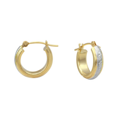 jcpenney.com | Majestique™18K Two-Tone Gold 13mm Hoop Earrings