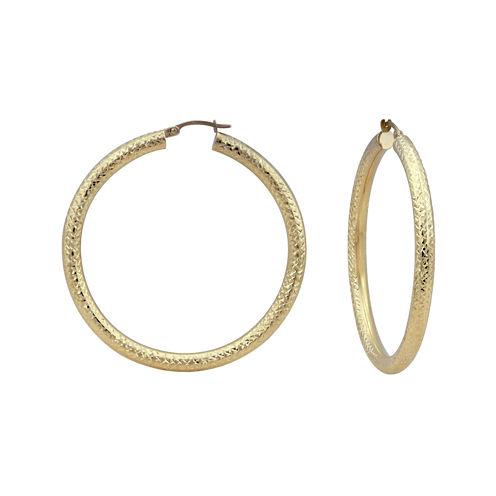 14K Yellow Gold Diamond-Cut 50mm Hoop Earrings
