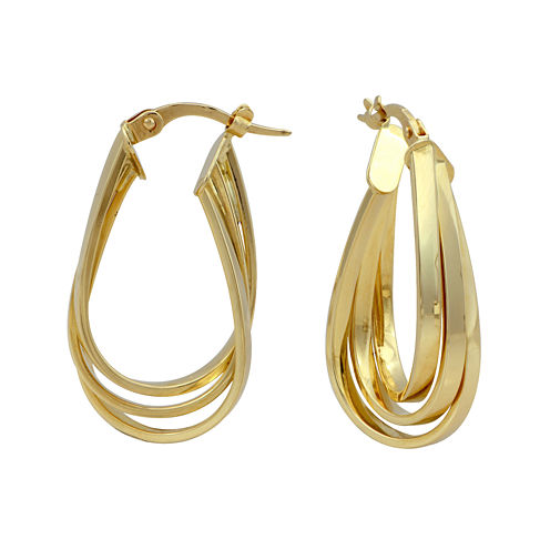Made in Italy 14K Yellow Gold 29mm Oval 3-Row Hoop Earrings