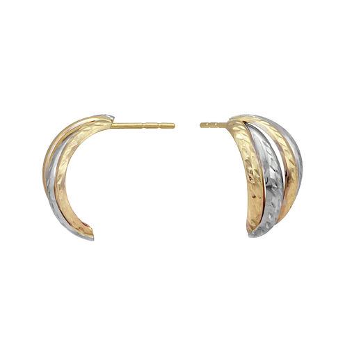14K Two-Tone Gold 6.5mm J-Hoop Earrings