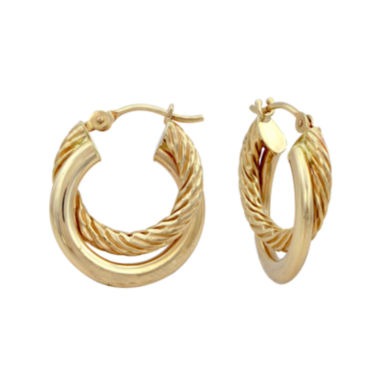 jcpenney.com | 14K Yellow Gold 16mm Two-Row Hoop Earrings