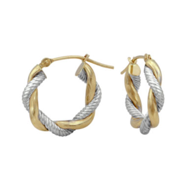 jcpenney.com | 14K Two-Tone Gold 17mm Twisted Hoop Earrings