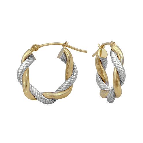 14K Two-Tone Gold 17mm Twisted Hoop Earrings