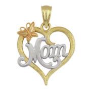 10K Tri-Tone Gold Mom Heart Pendant