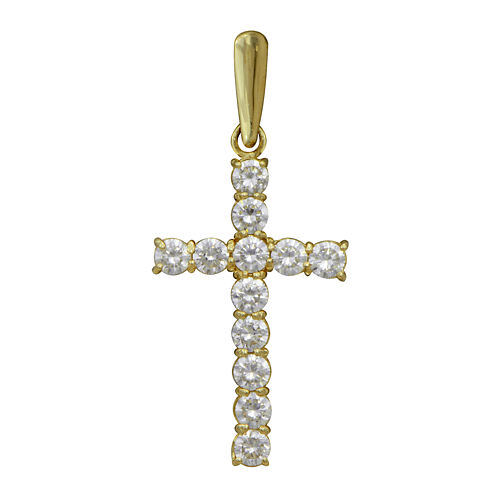 Cubic Zirconia 10K Yellow Gold Cross Pendant