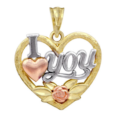 jcpenney.com | 10K Tri-Tone Gold I Love You Pendant