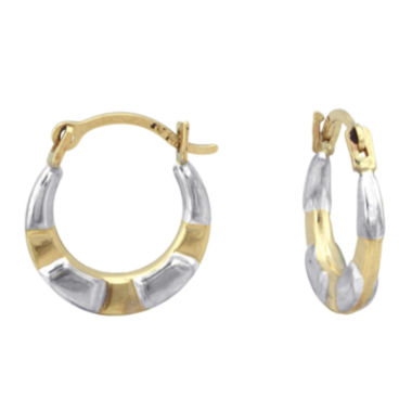 jcpenney.com | Girls 14K Two-Tone Gold Hoop Earrings