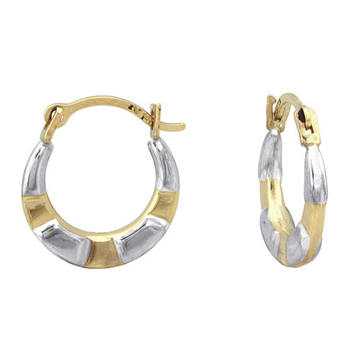 Girls 14K Two-Tone Gold Hoop Earrings