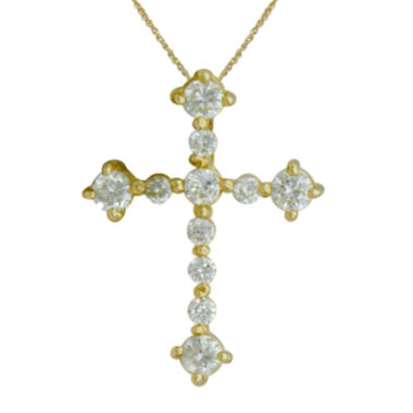 jcpenney.com | Girls Cubic Zirconia 14K Yellow Gold Cross Pendant Necklace