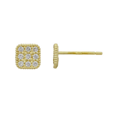 jcpenney.com | Petite Lux™ Cubic Zirconia 10K Yellow Gold Square Stud Earrings