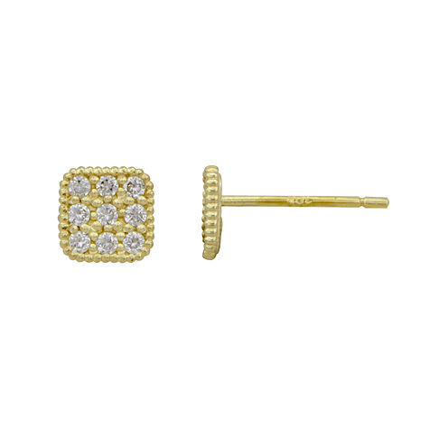 Petite Lux™ Cubic Zirconia 10K Yellow Gold Square Stud Earrings