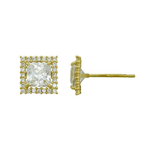 Petite Lux™ Cubic Zirconia 10K Yellow Gold Framed Stud Earrings