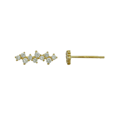 Petite Lux™ Cubic Zirconia 10K Yellow Gold Staggering Drop Earrings