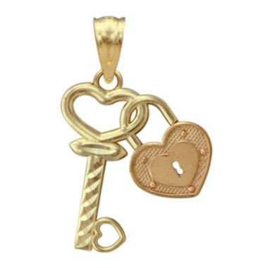 jcpenney.com | 10K Two-Tone Gold Lock and Key Charm Pendant