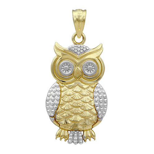 10K Two-Tone Gold Owl Charm Pendant