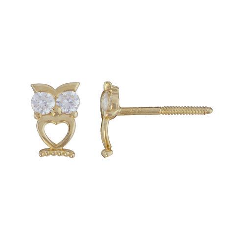 Girls 14K Gold Cubic Zirconia Owl Stud Earrings