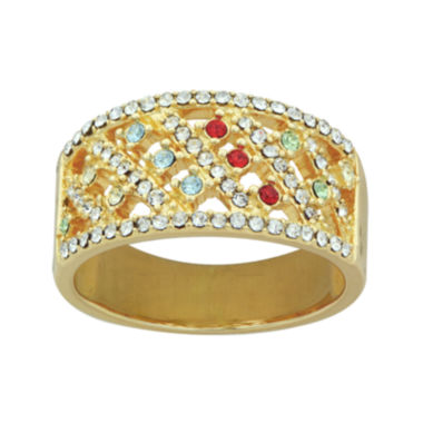 jcpenney.com | 14K Yellow Gold Over Silver Multicolor Crystal Ring