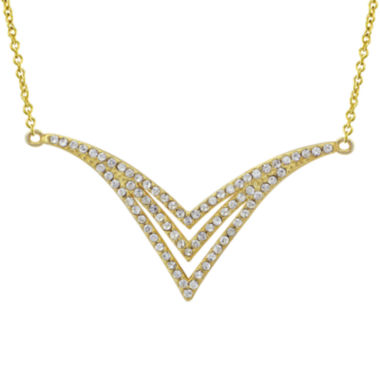 jcpenney.com | 14K Yellow Gold Over Sterling Silver Crystal Chevron Necklace