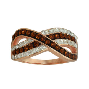 jcpenney.com | 14K Rose Gold Over Silver Crystal Crossover Ring