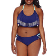 Arizona Foiled Ladderback Flounce Swim Top or Strappy Hipster Swim Bottoms - Juniors Plus