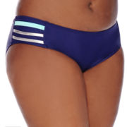 Arizona Foiled Strappy Hipster Swim Bottoms - Juniors Plus