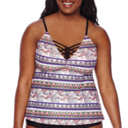 Arizona Festival Paisley Tankini Swim Top - Juniors Plus