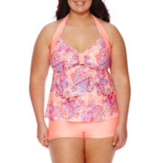 Arizona Halterkini Swim Top, Boyshort Bottoms or Skirtini Bottoms - Juniors Plus