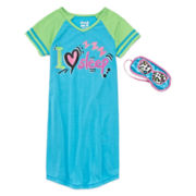 Sleep On It Short-Sleeve Multi Dorm Sleep Shirt and Mask - Girls 7-16
