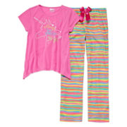 Sleep On It Unicorn 2-pc. Short-Sleeve Pants Set - Girls 7-14