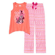 Sleep On It Zebra 2-pc. Short-Sleeve Pants Set - Girls 7-14