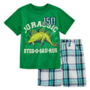 2-pc. Short-Sleeve Tee and Plaid Shorts Set - Toddler Boys 2t-4t