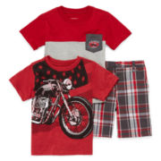 3-pc. Short-Sleeve Tee and Shorts Set - Toddler Boys 2t-4t