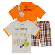 3-pc. Short-Sleeve Polo, Tee and Plaid Shorts Set - Toddler Boys 2t-4t