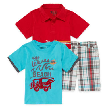 jcpenney.com | 3-pc. Short-Sleeve Polo, Tee and Plaid Shorts Set - Toddler Boys 2t-4t