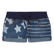 Arizona American Flag Denim Shorts with Knit Waistband - Girls 7-16