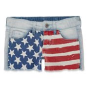 Arizona Stars and Stripes Denim Shorties - Girls 7-16 and Plus