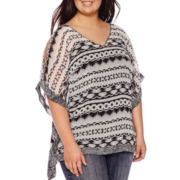 by&by Twin Print Poncho Blouse - Juniors Plus
