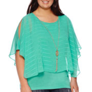 By & By Textured Knit Poncho Blouse - Juniors Plus