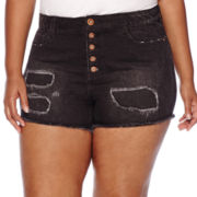 Arizona Destructed High-Rise Denim Shorties - Juniors Plus