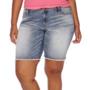 Arizona Raw-Edge Denim Bermuda Shorts - Juniors Plus