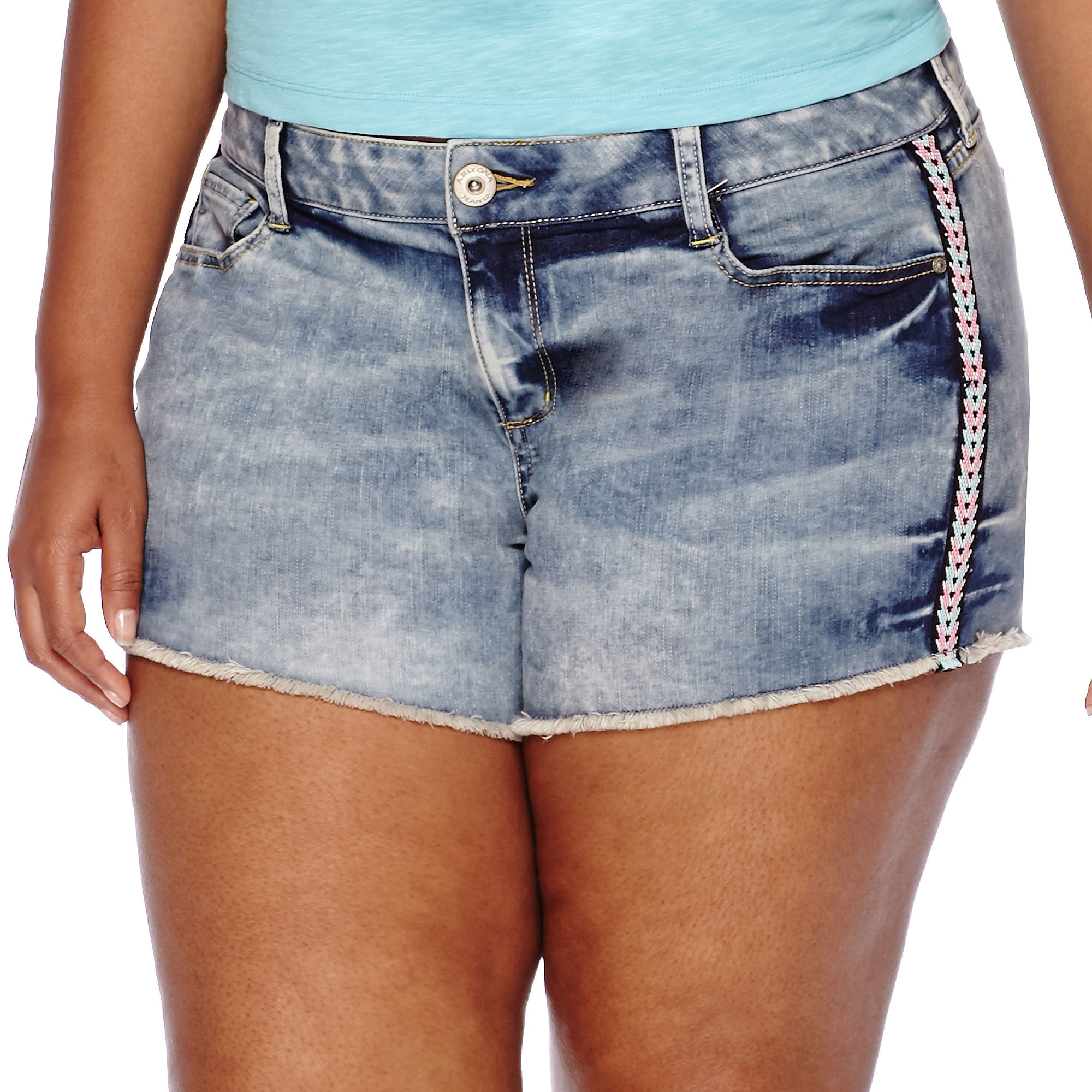 Arizona Multicolor Embroidery Geo Shorts - Juniors Plus plus size,  plus size fashion plus size appare